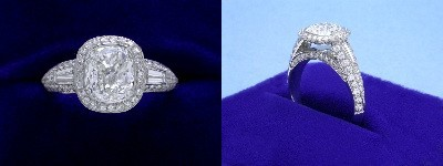 Cushion Cut Diamond Ring: 1.71 carat with 1.15 ratio in 1.24 tcw Bez Ambar designer pave and tapered baguette mounting