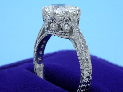 Cushion Cut Diamond Ring: 1.72 carat with 1.23 ratio and 0.24 tcw Richard Landi Designer Mounting