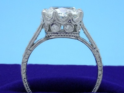 Cushion Cut Diamond Ring with Pave Diamond Mounting
