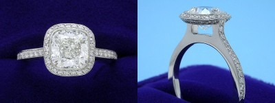 Cushion Cut Diamond Ring: 1.73 carat with 1.01 ratio in 0.39 tcw Bez Ambar designer pave mounting