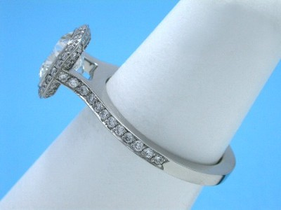 Cushion Cut and Pave Diamond Ring