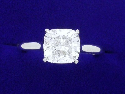 Cushion Cut Diamond Ring: 1.75 carat with 1.04 ratio in Cathedral Style Mounting