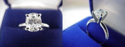 Cushion Cut Diamond Ring: 1.76 carat with 1.20 ratio in four-prong Solitaire style mounting