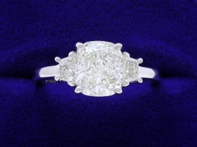 Cushion Cut Diamond Ring: 1.80 carat with 0.30 tcw Trapezoids