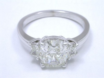 Cushion and Trapezoid Three-Stone Ring