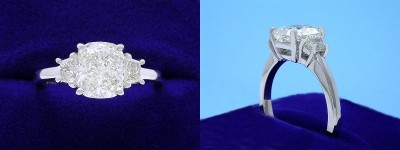 Cushion Cut Diamond Ring: 1.80 carat with 1.17 ratio in 0.30 tcw Trapezoid Diamond custom mounting