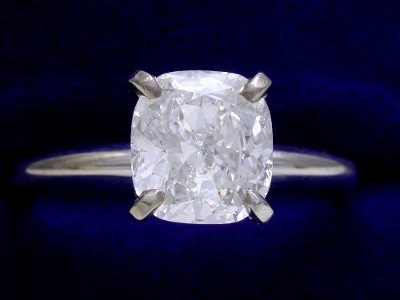 Cushion Cut Diamond Ring: 1.80 carat with 1.06 ratio in Solitaire style mounting