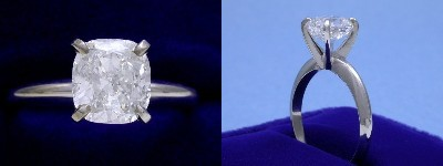 Cushion Cut Diamond Ring: 1.80 carat with 1.06 ratio in four-prong Solitaire style mounting