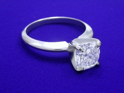 Prong Set Cushion Cut Diamond Ring