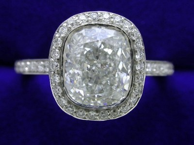 Cushion Cut Diamond Ring: 1.81 carat with 1.20 ratio and 0.44 tcw Bez Ambar Pave Mounting