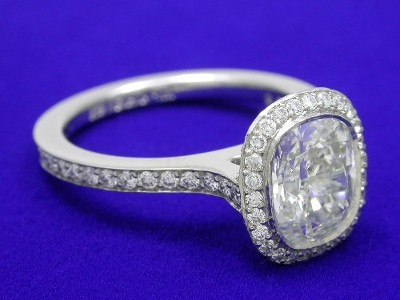 Cushion and Pave Diamond Ring