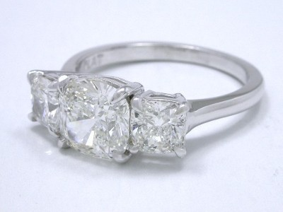 Three-Stone Cushion Diamond Engagement Ring