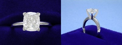 Cushion Cut Diamond Ring: 1.83 carat with 1.16 ratio in four-prong Solitaire style mounting