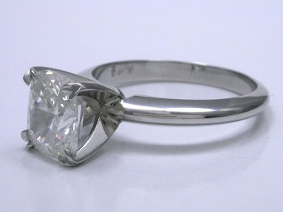 Diamond ring with 1.83 carat cushion modified brilliant diamond graded I color, VS2 clarity