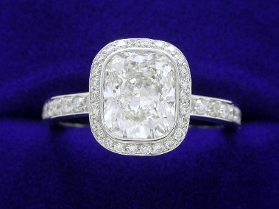 Cushion Cut Diamond Ring: 2.01 carat with 1.20 ratio in 0.51 tcw pave Bez Ambar Mounting