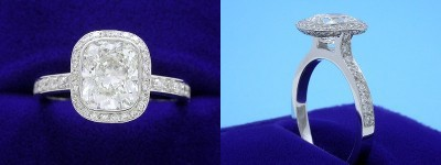Cushion Cut Diamond Ring: 2.01 carat with 1.20 ratio in 0.51 tcw Bez Ambar designer pave mounting