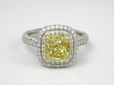 Fancy Yellow Cushion Diamond with 1.10 Length-To-Width Ratio