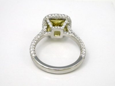 Fancy Yellow Cushion Diamond Ring with Double Row Pave Halo and Pave Basket and Pave Shank