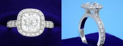 Cushion Cut Diamond Ring: 2.02 carat with 1.00 ratio in 1.23 tcw Bez Ambar designer pave mounting