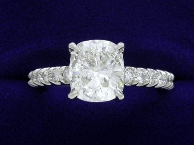 Cushion Cut Diamond Ring: 2.05 carat with 1.15 ratio in 0.69 tcw Leo Ingwer designer mounting