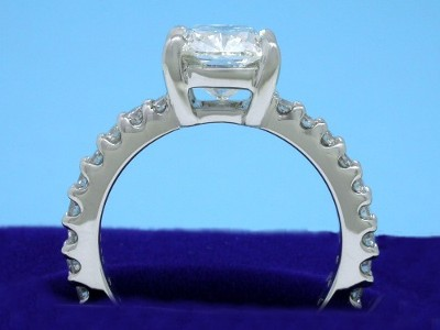 Diamond ring with 2.05-carat cushion modified brilliant cut diamond