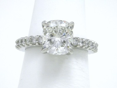 Leo Ingwer Designer Cushion Cut Diamond Engagement Ring