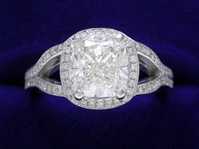 Cushion Cut Diamond Ring: 2.07 carat with 1.06 ratio in Bez Ambar 0.20 tcw pave mounting