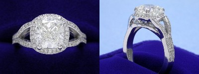 Cushion Cut Diamond Ring: 2.07 carat with 1.06 ratio in 0.20 tcw custom split shank pave mounting