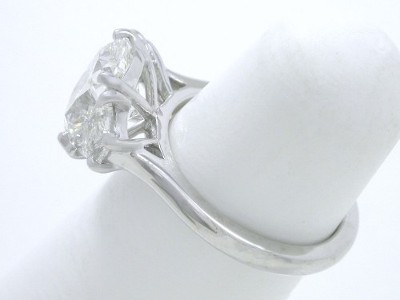 Diamond ring with 2.12-carat cushion modified brilliant cut diamond