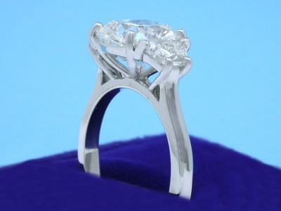 Cushion Cut Diamond Ring: 2.12 carat with 1.11 ratio in 0.56 tcw Crescent Trapezoid custom mounting