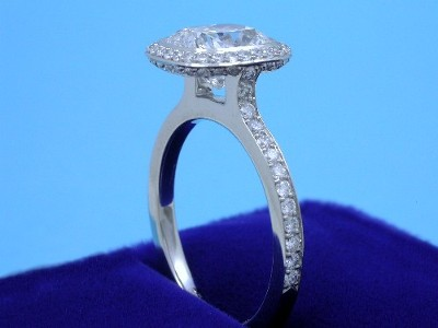 Cushion Cut Diamond Ring: 2.20 carat with 1.15 ratio in 0.56 tcw Bez Ambar designer mounting