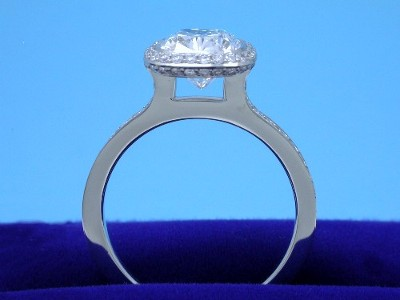 Diamond ring with a 2.20-carat cushion modified brilliant cut diamond