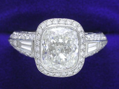 Cushion Cut Diamond Ring: 2.31 carat with 1.18 ratio in Bez Ambar pave mounting