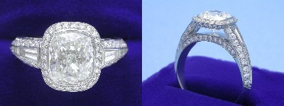 Cushion Cut Diamond Ring: 2.31 carat with 1.18 ratio in 1.16 tcw Bez Ambar designer pave and tapered baguette mounting