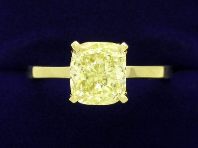 Cushion Cut Diamond Ring: 2.38 carat with 1.12 ratio in 18kt Yellow Gold Mounting
