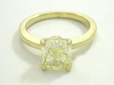 2.38 carat cushion modified brilliant cut diamond graded Fancy Light Yellow color