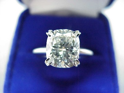 Cushion Cut Diamond Ring: 2.53 carat with 1.15 ratio in Solitaire style mounting