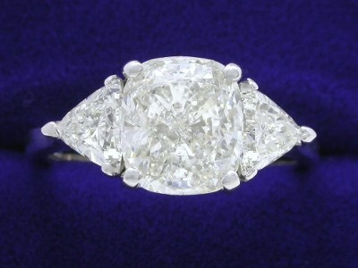Cushion Cut Diamond Ring: 2.55 carat with 1.13 ratio in 0.80 tcw Trillion custom mounting