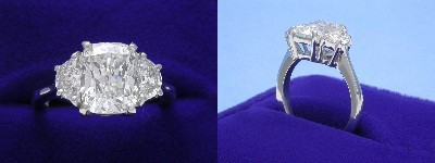 Cushion Cut Diamond Ring: 2.58 carat with 1.26 ratio in 0.63 tcw Half Moon Diamond custom mounting