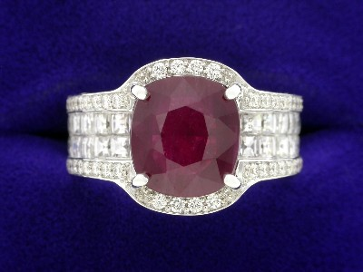 Cushion Ruby Ring: 3.06 carat with 1.23 tcw Blaze and 0.94 tcw Pave Round Diamonds