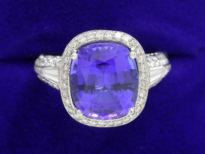 Cushion Cut Tanzanite Ring: 3.84 carats with 0.16 tcw Tapered Baguettes and 1.38 pave Bez Ambar Mounting