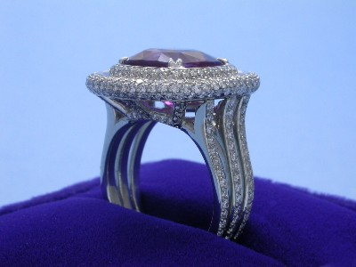 Cushion Cut Pink Sapphire Ring: 7.03 carat in Bez Ambar Pave Mounting
