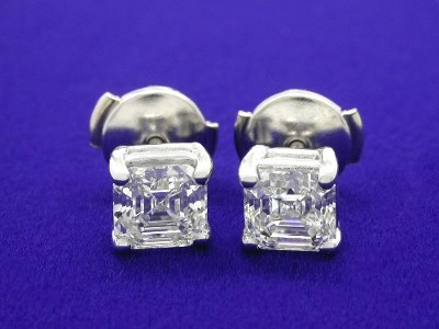 Asscher cut diamond earrings with 4-prong basket heads and clutch style backs