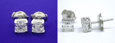 Asscher Cut Earrings: 1.29 tcw with Basket Heads and Clutch Backs
