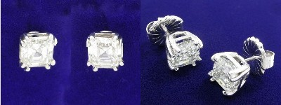 Asscher Cut Earrings: 4.22 tcw with Double Pronged Basket Heads and Friction Backs