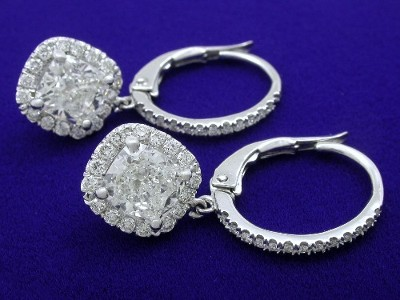 Cushion Cut Earrings: 2.08 tcw with 0.48 tcw Pave Halo and Lever Back