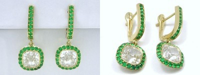 Cushion Cut Earrings: 4.01 tcw with 0.56 tcw Emerald Pave Halo and Lever Back