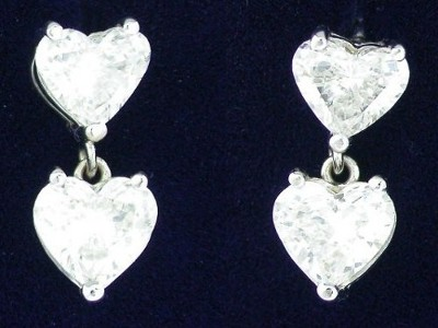 Heart Shaped Diamond Earrings: 2.74 tcw in Dangle Baskets with Shepard Back