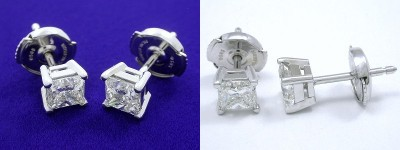 Princess Cut Earrings: 1.22 tcw with Basket Heads and Clutch Backs