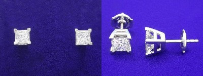 Princess Cut Earrings: 1.44 tcw with Basket Heads and Clutch Backs